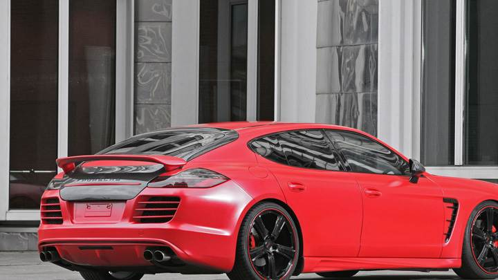 Porsche Panamera Anderson Germany Side Back Pose In Red
