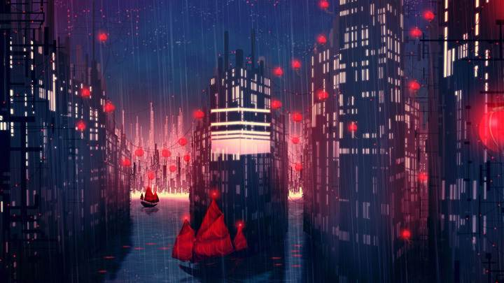 Rainy Red City Night Scene