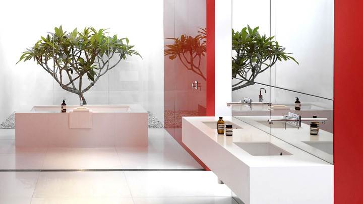 Red And White Design In Bathroom