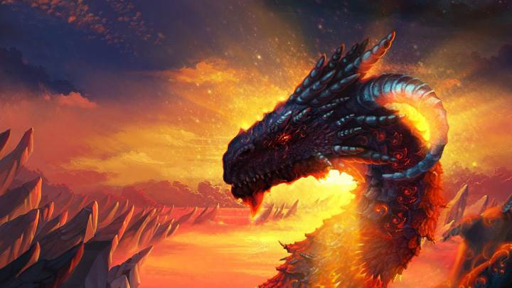 Red Dragon Near Mountains Illustration