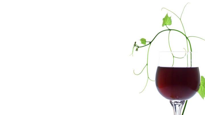 Red Wine With Green Leaves And White Background