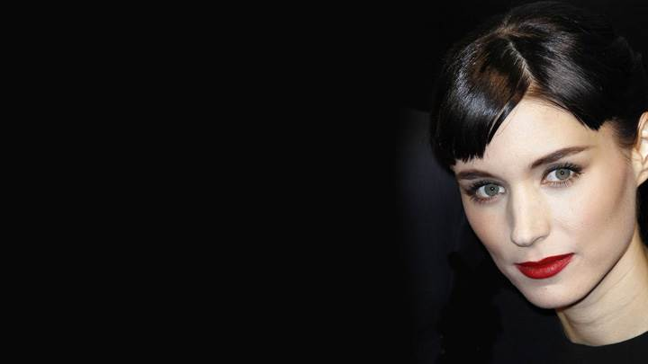 Rooney Mara Red Lips In Black Dress N Black Background