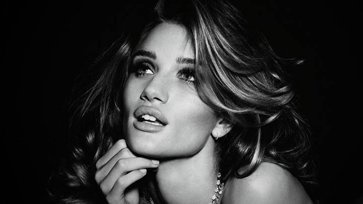 Rosie Huntington-Whiteley Black N White Face Photoshoot