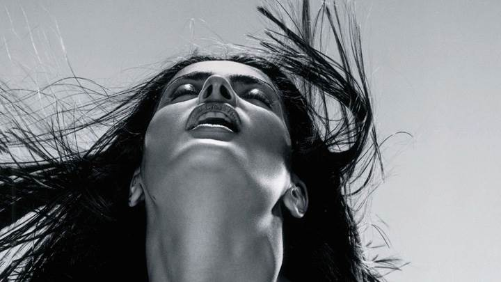 Salma Hayek Black N White Face Upside Closeup