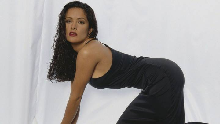 Salma Hayek In Red Lips N Black Long Nightie