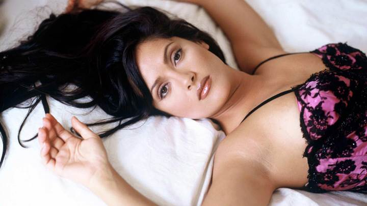 Salma Hayek Laying On Bed In Black N Pink Nightie