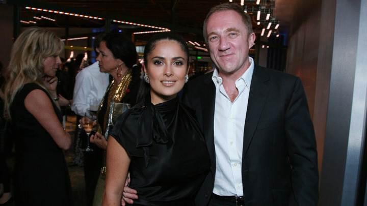 Salma Hayek Photoshoot With Man In Party