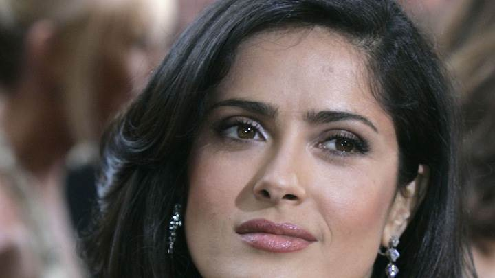 Salma Hayek Pink Lips Cute Face Closeup