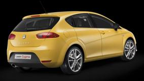 Seat Leon Cupra In Yellow Back Pose N Black Background