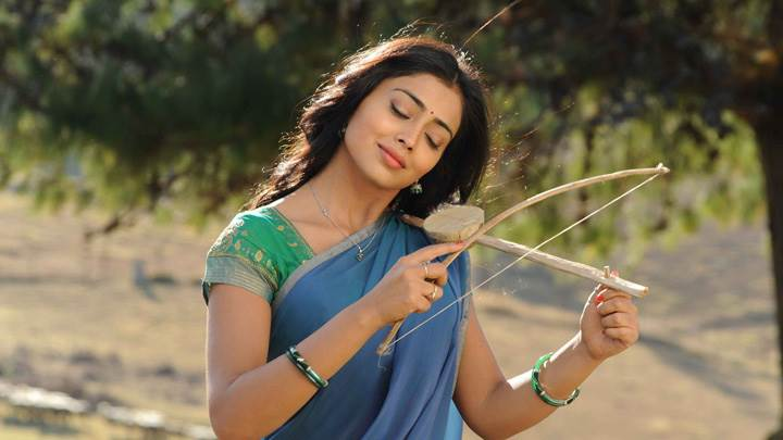 Shriya Saran Closed Eyes N Instrument In Hand In Kutty Movie