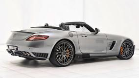 Side Back Pose Of Brabus Mercedes-Benz SLS AMG Roadster In Silver