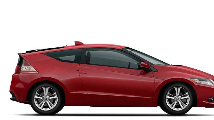 Side Pose Of 2011 Honda CR-Z Sport Hybrid Coupe In Red N White Background