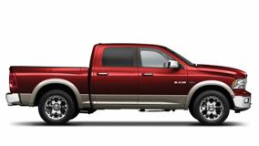 Side Pose Of Dodge Ram 1500 Laramie 2009 In Red N White Background