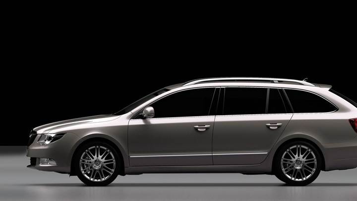 Side Pose Of Skoda Superb Combi