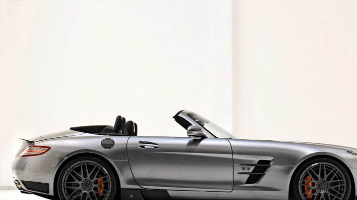 Side pOse Of Brabus Mercedes-Benz SLS AMG Roadster In Shine Silver