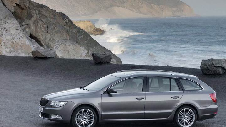 Skoda Superb Combi In Grey Near Sea