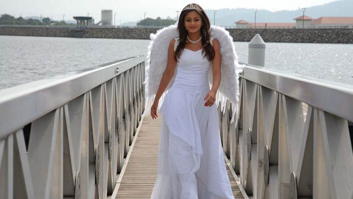 Sneha Ullal Smiling In White Long Dress N White Wings