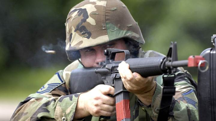Soldier Is Firing The Rifle