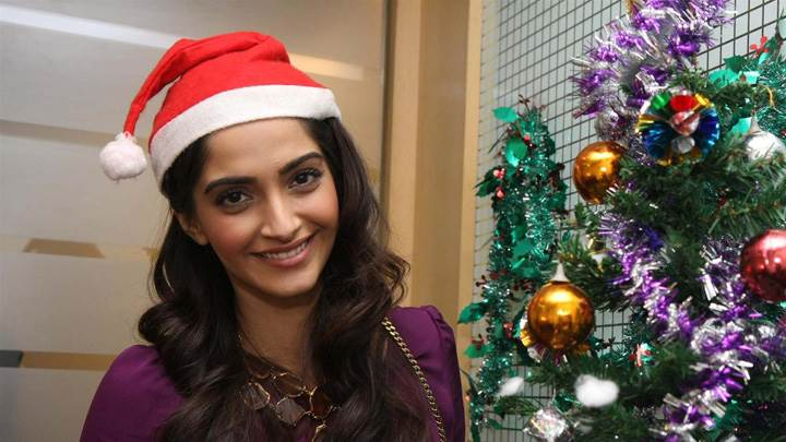 Sonam Kapoor Wearing Santa Cap Smiling At Christmas Event