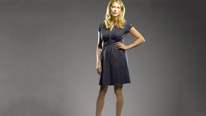 Sonya Walger In Grey Dress Modeling Pose Photoshoot