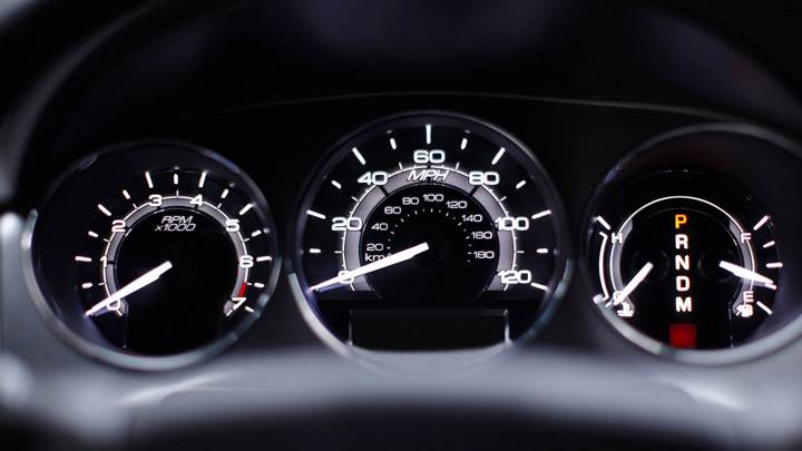 Speedometer Closeup Of 2010 Lincoln MKZ