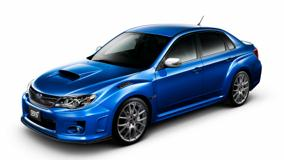 Subaru Impreza WRX STI S206 In Shine Blue Front Side Pose N White Background