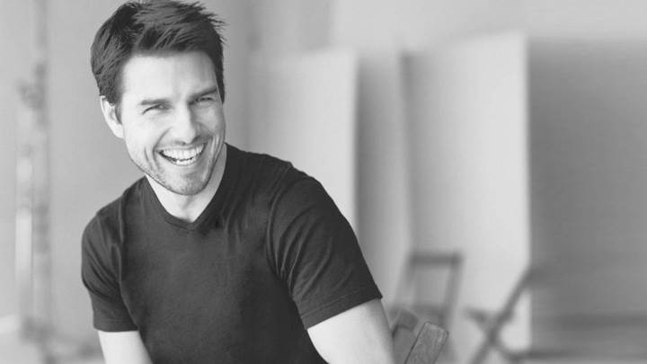Tom Cruise Laughing Black N White Sitting Photoshoot