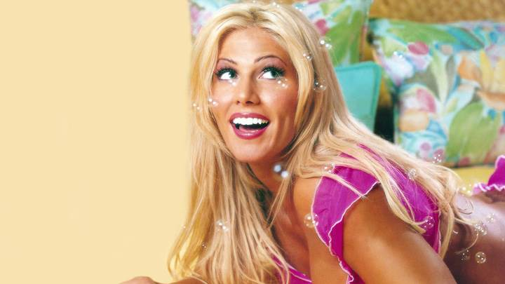 Torrie Wilson Laughing In Pink Bikini Laying Pose Photoshoot