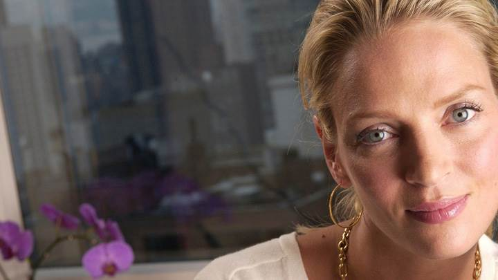 Uma Thurman Cute Eyes Looking At Camera Photoshoot