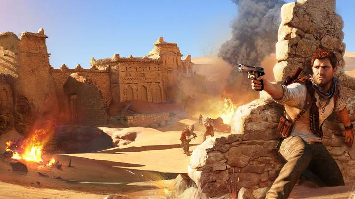 Uncharted 3 Drake Firing In Desert