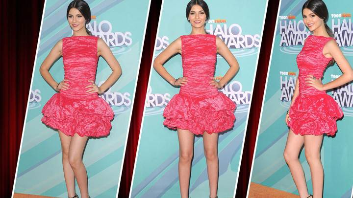 Victoria Justice In Pink Dress N Three Different Modeling Pose