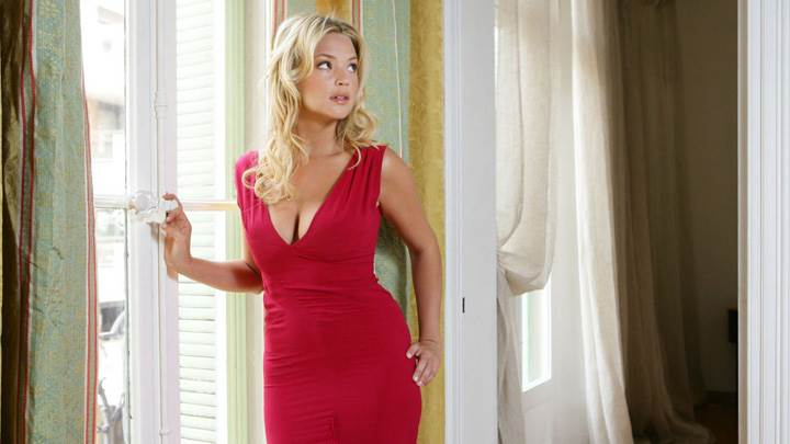 Virginie Efira Looking Side In Red Long Dress
