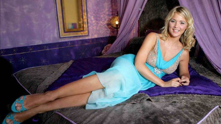 Virginie Efira Smiling Laying Pose In Blue Dress