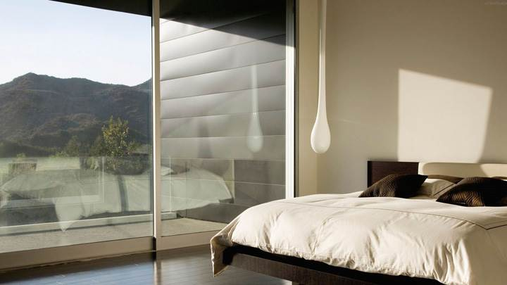White And Brown Curtain In Bed Room