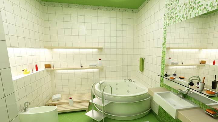 White And Green Interior In Bathroom