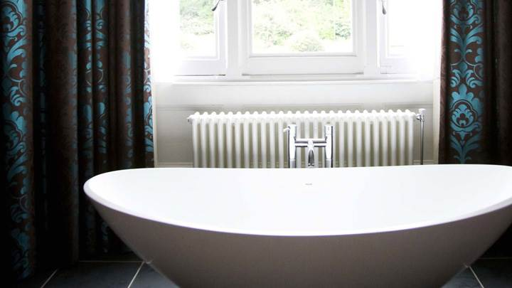 White Bowl Design Bathtub Closeup
