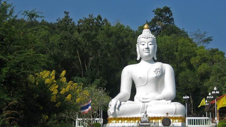 White Budha Statue In Park