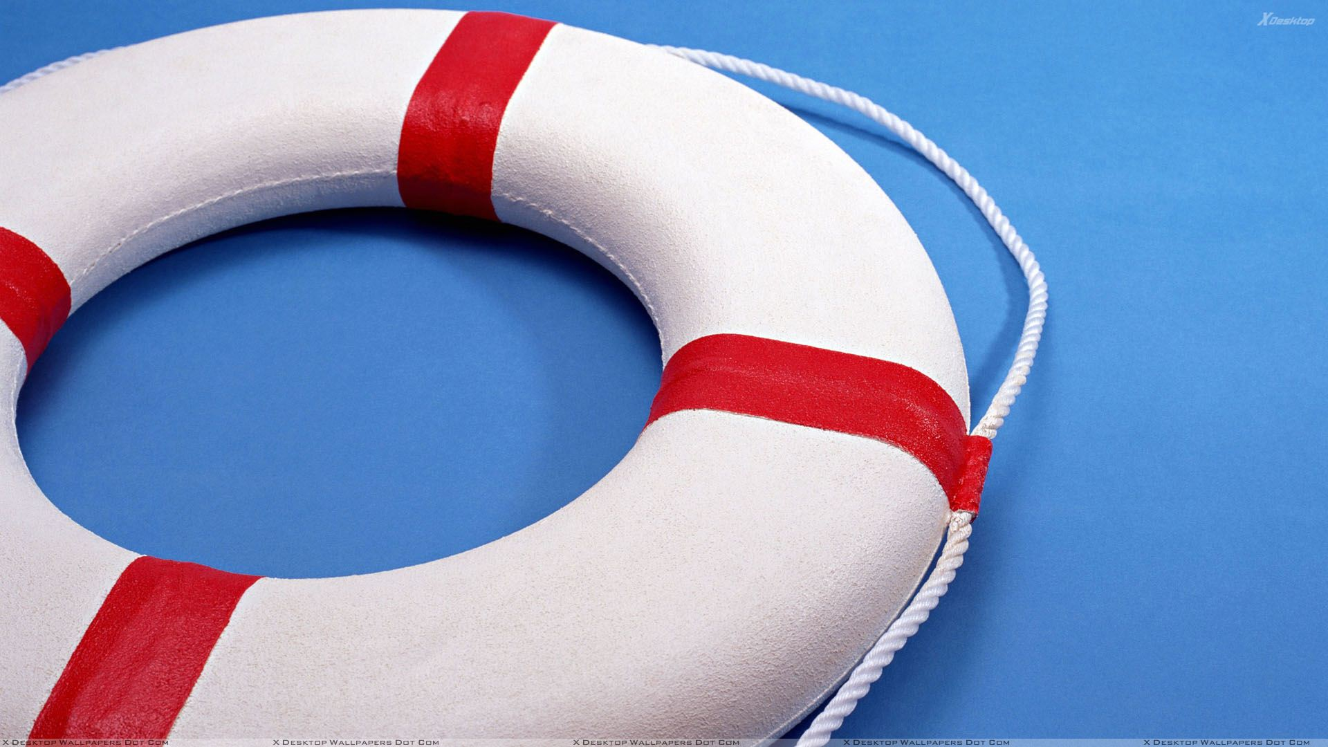White Lifeboat On Blue Background