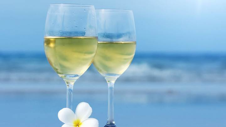 Wine Glasses With White Flower Closeup Near Sea