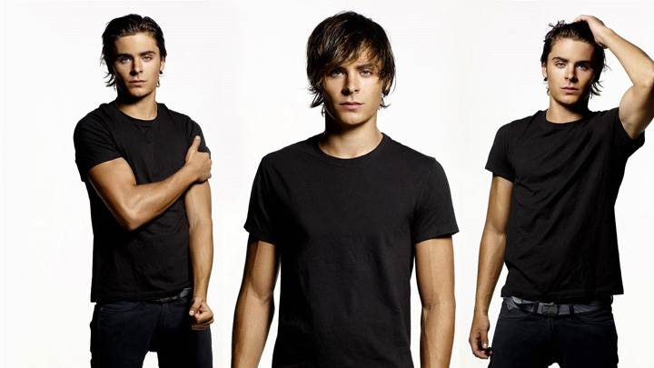 Zac Efron Wearing Black Tshirt