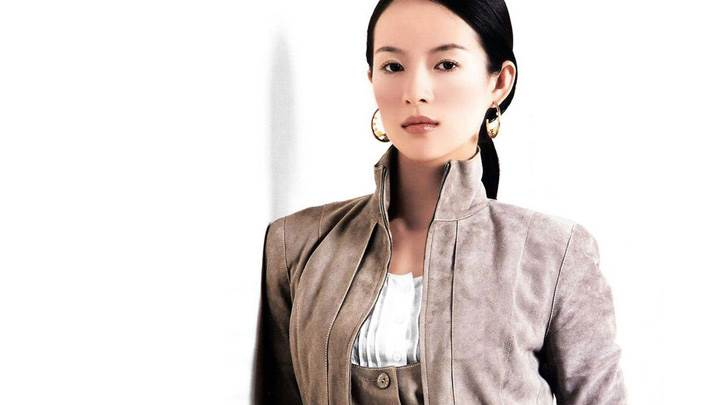 Zhang Ziyi In Brown Jacket Looking Front Photoshoot