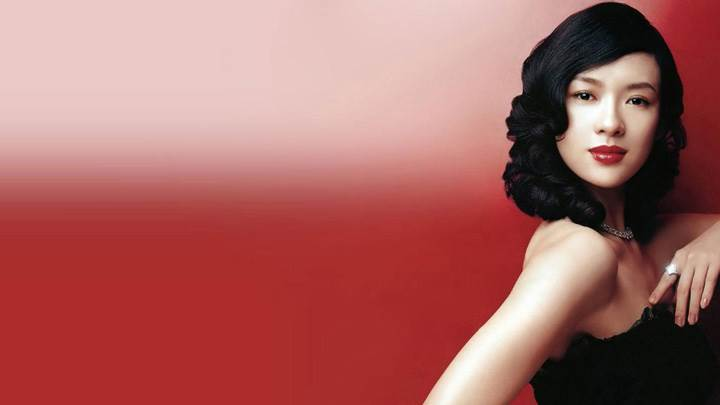 Zhang Ziyi Red Lips In Black Dress Side Pose N Red Background