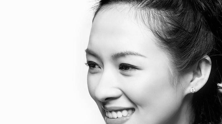 Zhang Ziyi Smiling Side Face Black N White Photoshoot