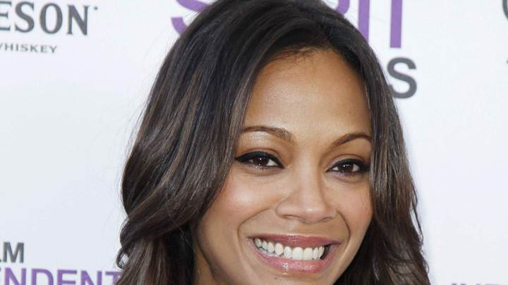 Zoe Saldana Wet Lips Smiling Face Closeup At Film Independent Spirit Award