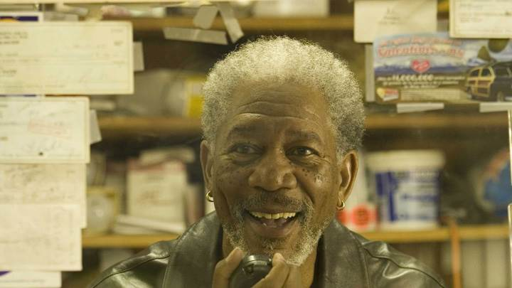 10 Items or Less – Morgan Freeman Smiling And Curly Hairs