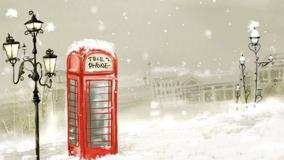 A Telephone Booth In Snowfall
