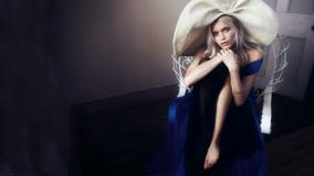 Abbey Lee Kershaw – Sitting In Blue Dress