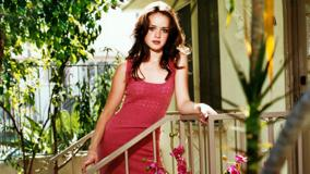 Alexis Bledel In Red Long Dress Outside House