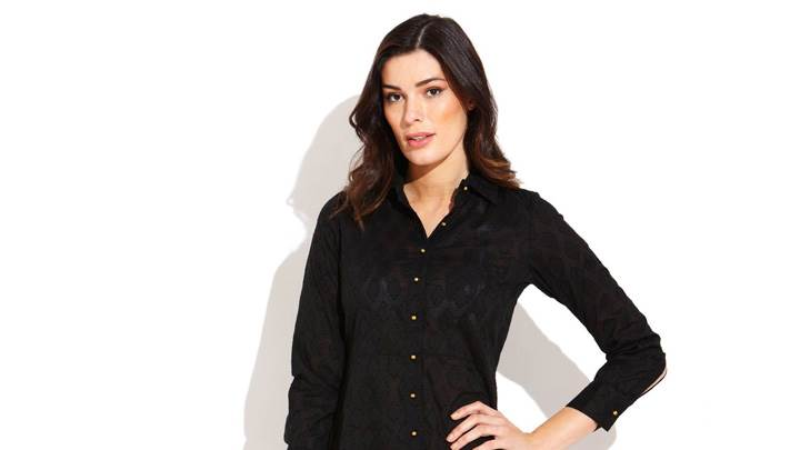 Alice Panikian In Black Shirt Modeling Pose Photoshoot