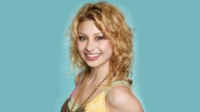 Aly Michalka Sweet Laughing Face N Blue Background